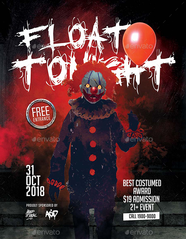 Creepy Clown Halloween Party Flyer - Set of 3 Templates