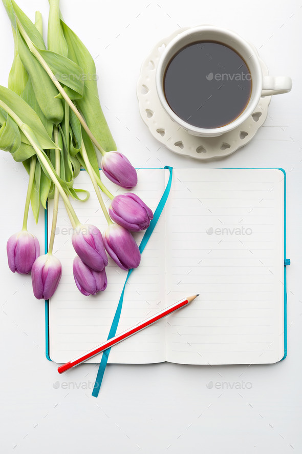 Desk with flowers - Stock Photo - Images