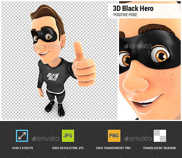 GraphicRiver 3D Black Hero Positive Pose with Thumb Up 20655290