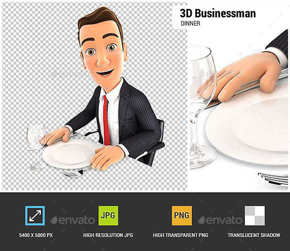 GraphicRiver 3D Businessman Ready for Dinner 20655299