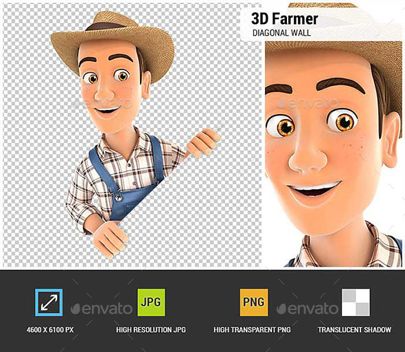 3D Farmer Behind Diagonal Wall - Characters 3D Renders