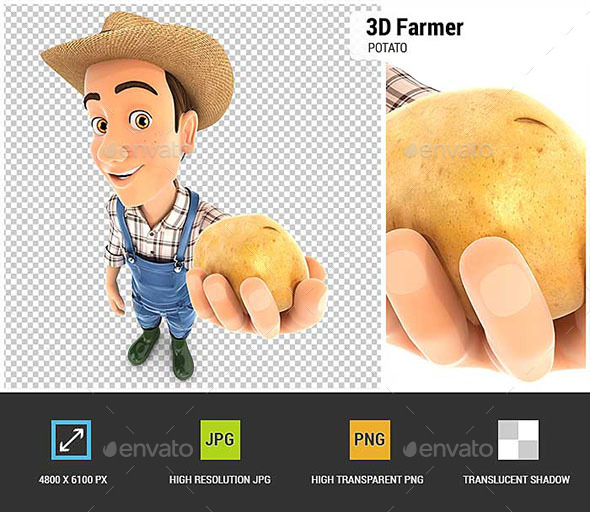 3D Farmer Holding a Potato - Characters 3D Renders