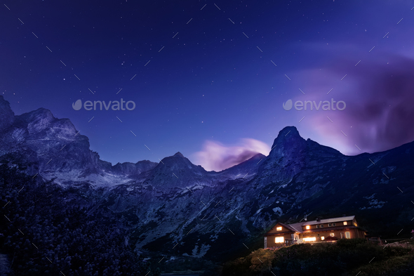 Night view on Tatra Mountains from Zelene pleso lake valley, Slovakia, Europe - Stock Photo - Images