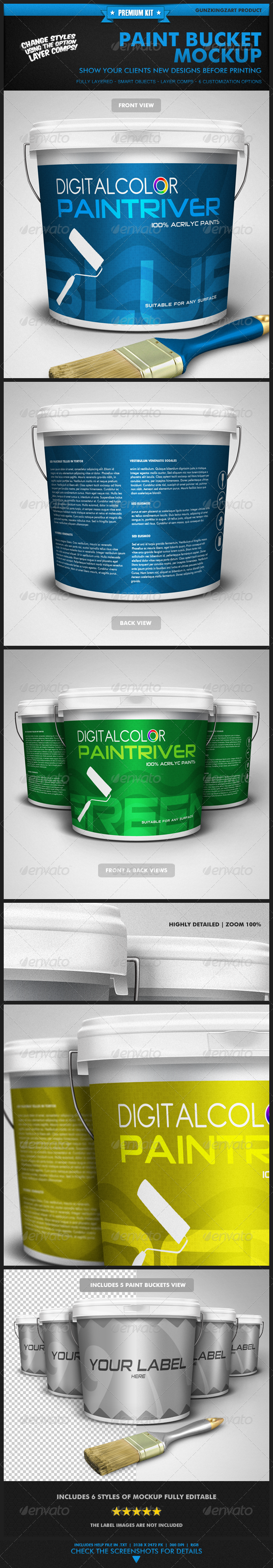 Paint Bucket Mockup - Premium Kit - Miscellaneous Packaging