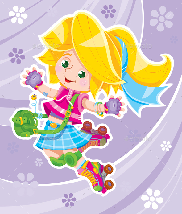 Vector Girl Jumping - People Characters