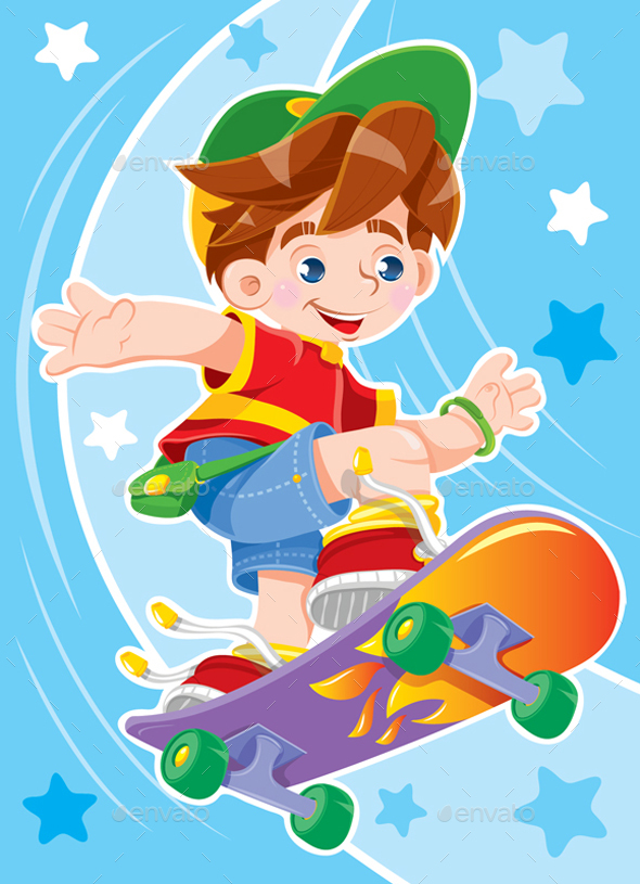 Boy is Riding a Skateboard - People Characters