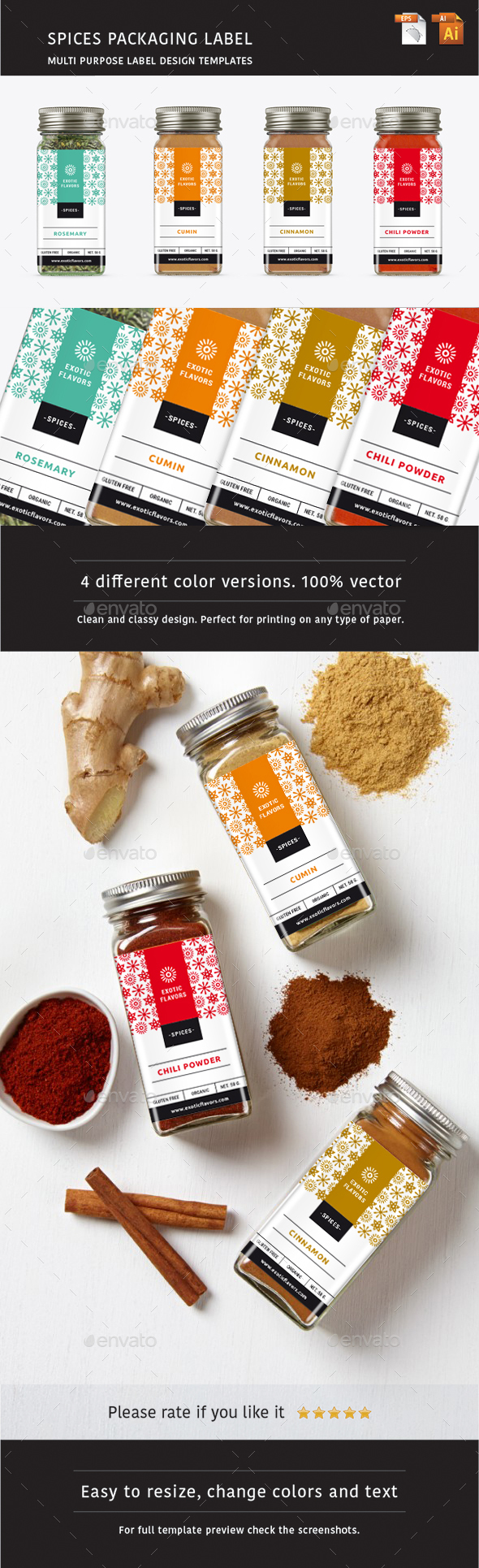 Spices Packaging Label - Packaging Print Templates