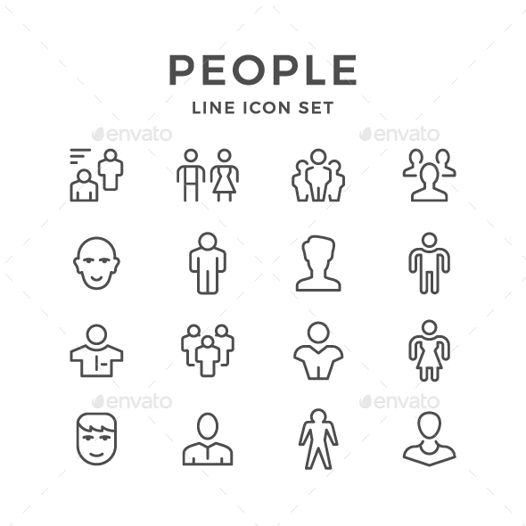 GraphicRiver Set Line Icons of People 20655651