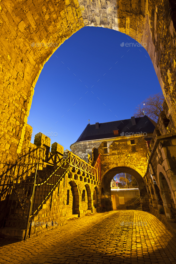Aachen Ponttor At Night, Germany - Stock Photo - Images