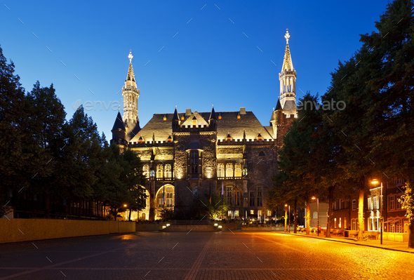 Aachen Town Hall At Night, Germany - Stock Photo - Images