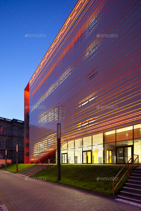 Red Aachen University Building, Germany - Stock Photo - Images