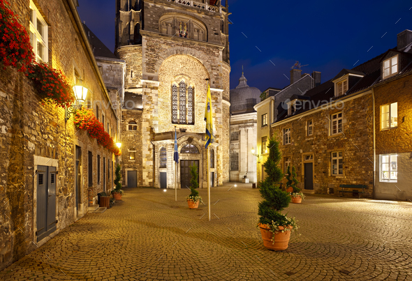 Aachen Domhof At Night, Germany - Stock Photo - Images