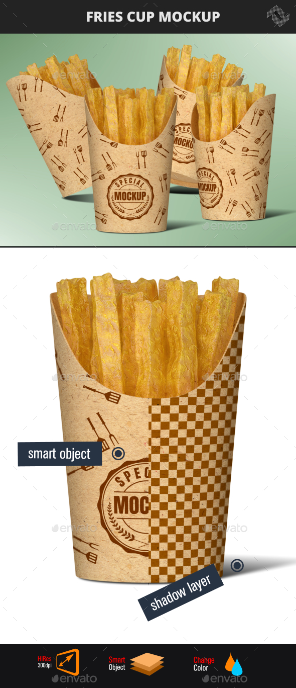 Recycled Paper Fries Cup Mockup - Food and Drink Packaging