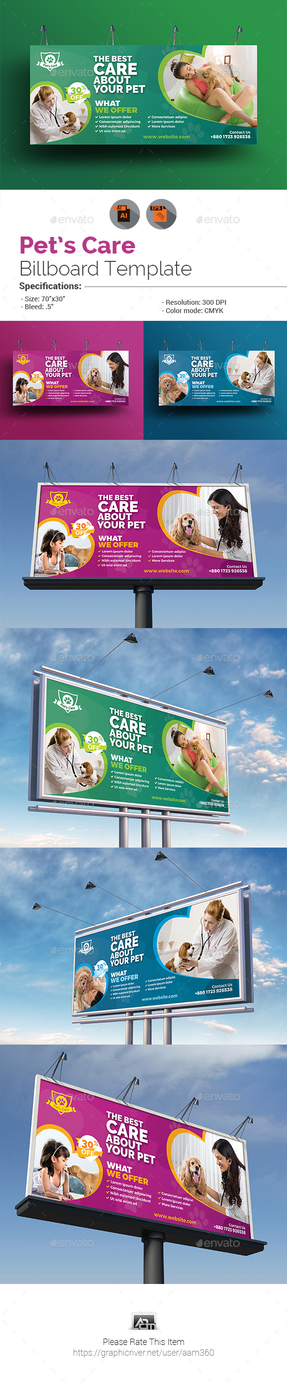 Pets Care Billboard Template - Signage Print Templates