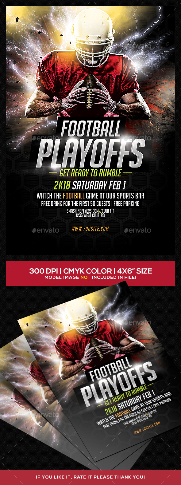 Football Playoffs Flyer Template - Sports Events