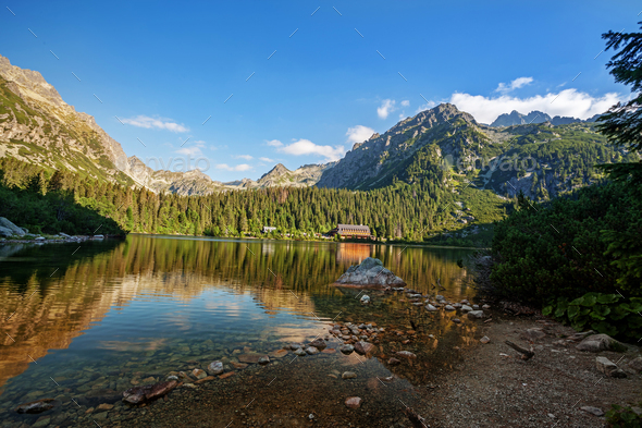 Panorama of Popradske pleso lake valley in Tatra Mountains, Slovakia, Europe - Stock Photo - Images
