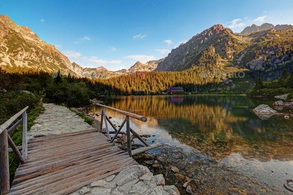 Panorama of Popradske pleso lake valley in Tatra Mountains, Slovakia, Europe - Stock Photo - Images