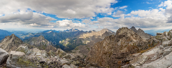 Panoramic view on high Tatra Mountains, Slovakia, Europe - Stock Photo - Images