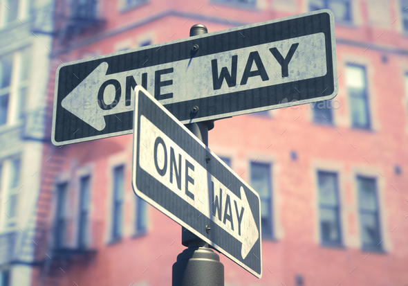 One Way Sign - Stock Photo - Images