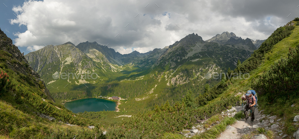 Panorama of Popradske pleso lake valley in High Tatra Mountains, Slovakia, Europe - Stock Photo - Images