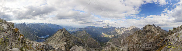 Panoramic view on high Tatra Mountains, Slovakia, Europe - Stock Photo - Images