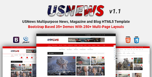USNews | Multipurpose News, Magazine and Blog HTML5 Template - Entertainment Site Templates