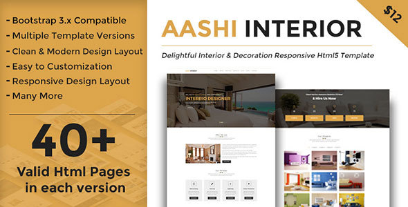 Aashi Interior - Responsive HTML Template for Interior Design and Decoration