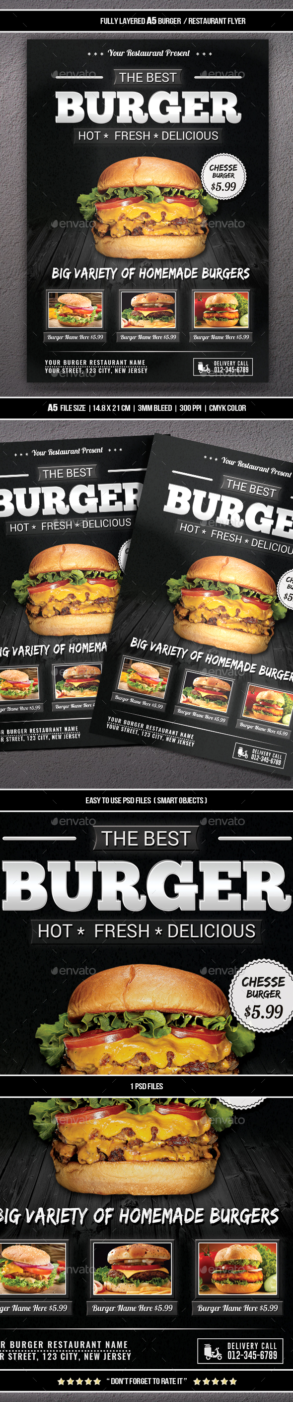 Burger / Restaurant Flyer (A5) - Restaurant Flyers