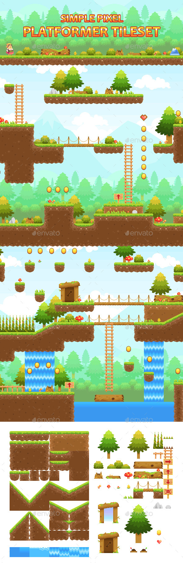 GraphicRiver Simple Pixel Platformer Tileset 20657217