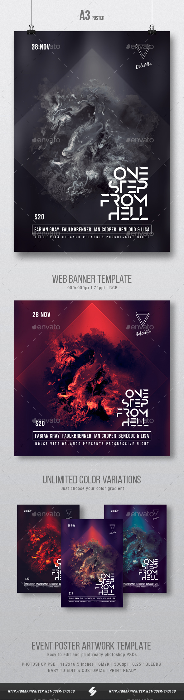 One Step From Hell - Abstract Party Flyer / Poster Artwork Template A3 - Clubs & Parties Events
