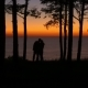 Silhouettes of People at Sunset Trees and Sea - VideoHive Item for Sale