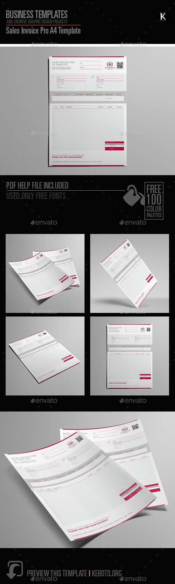 Sales Invoice Pro A4 Template - Miscellaneous Print Templates