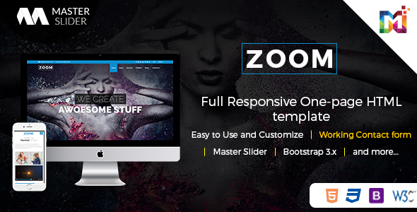 Responsive One Page Parallax - Zoom