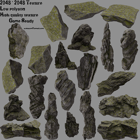 forest rock 1 - 3DOcean Item for Sale