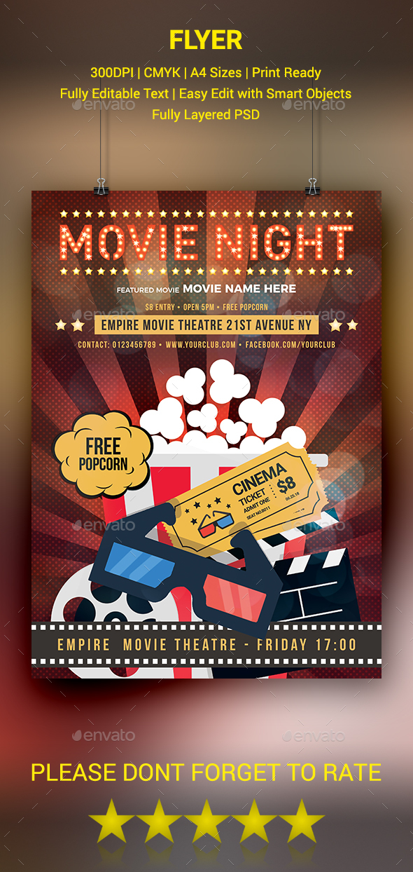 GraphicRiver Movie Night Flyer 20658044