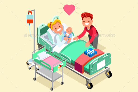GraphicRiver Birth and Pregnancy Vector Isometric People Illustration 20658189