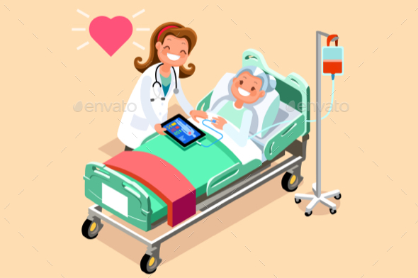 Doctor and Female Senior Patient Isometric People Vector - Vectors