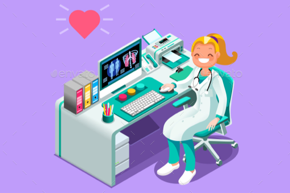 GraphicRiver Doctor at Desk in Hospital Office Vector Isometric People 20658253