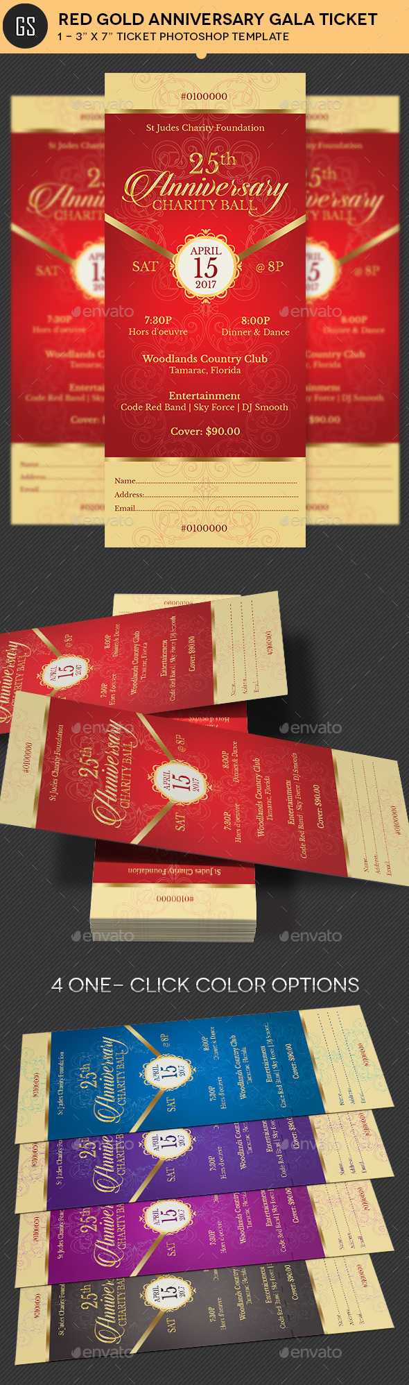 Red Gold Anniversary Gala Ticket Template - Miscellaneous Print Templates