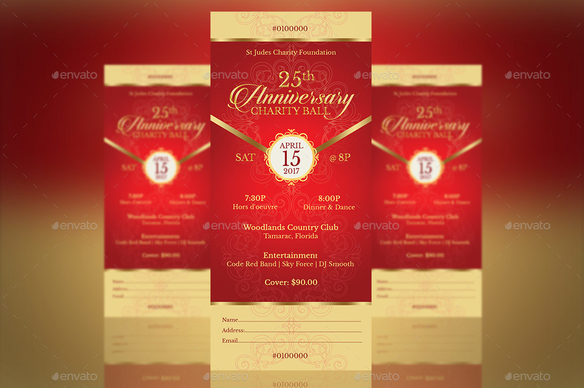 red gold anniversary gala ticket template by godserv2