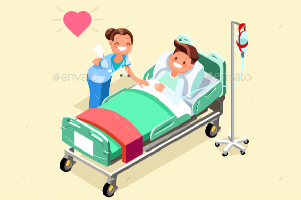 Hospital Bed Isometric People Vector Illustration - Vectors