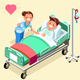 Hospital Bed Isometric People Vector Illustration