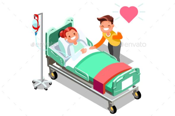 Hospital Breast Cancer Isometric People Vector - Vectors