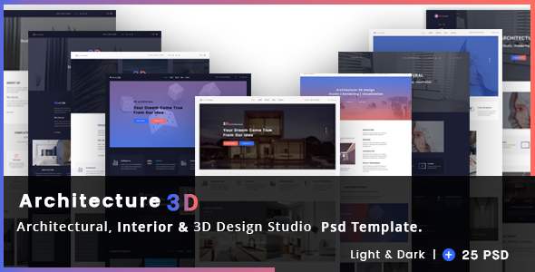 Architecture 3D - Architectural,Interior & 3D Design  Studio  PSD Template - Business Corporate