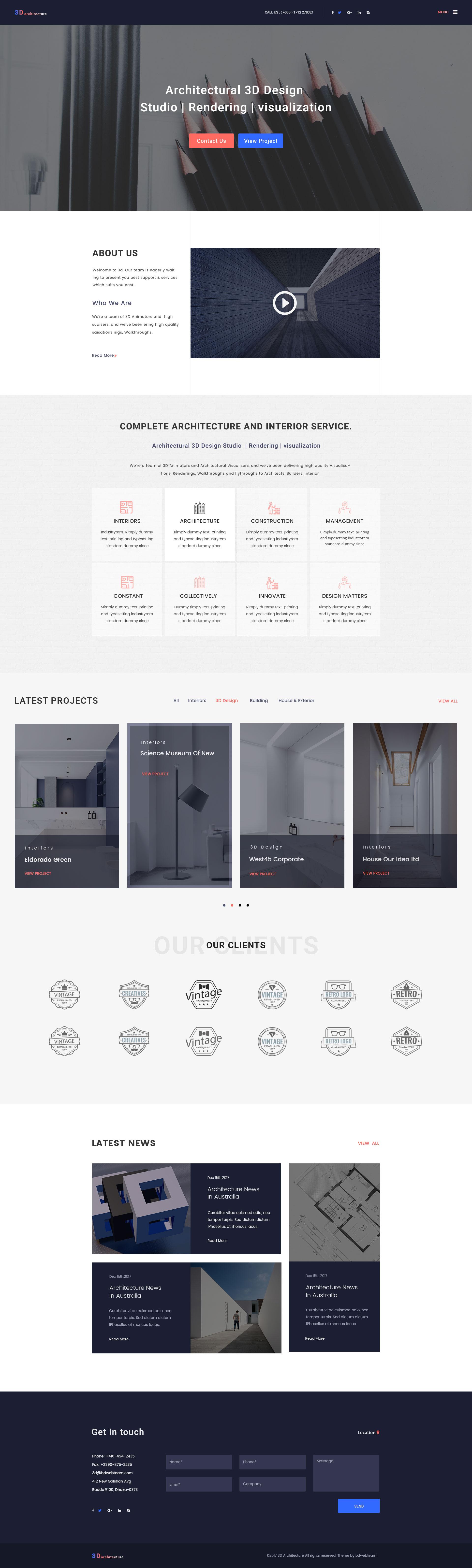 architecture 3d architecturalinterior 3d design studio psd template