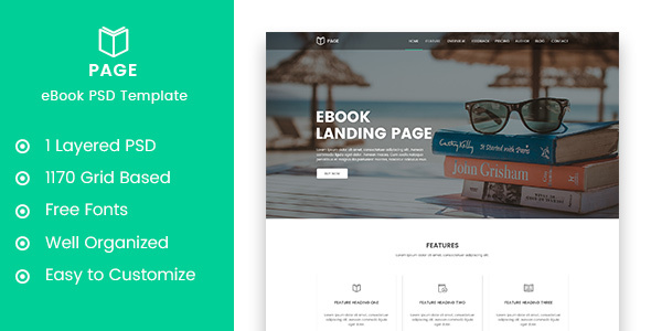Page - eBook Selling Landing Page PSD Template - Marketing Corporate