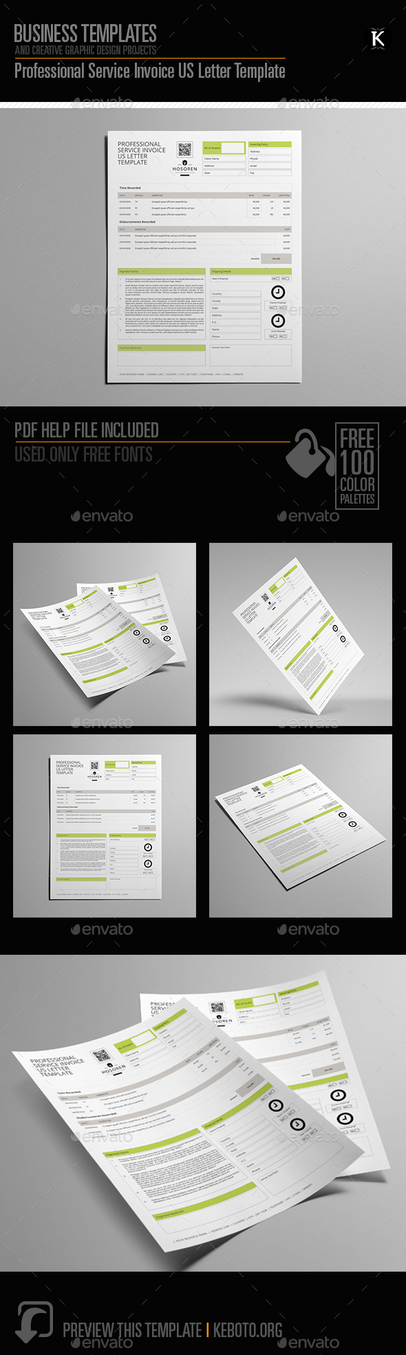 Professional Service Invoice US Letter Template - Proposals & Invoices Stationery