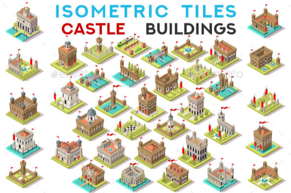 GraphicRiver Isometric Tile Set Buildings Castle Game Icons 20658534