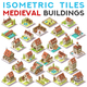 Isometric Tile Set Buildings Fantasy Game Icons