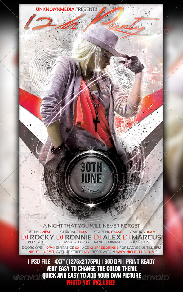 12h Party Flyer Template Design - Clubs & Parties Events